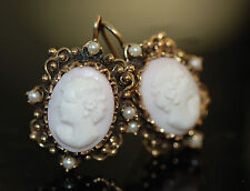 Classic Edwardian Style Angel Skin Coral Cameo 2.7mm Natural Pearl Earrings 14k
