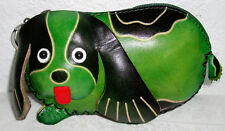 "Leather Coin-Purse/ Key chain/Basset Hound Dog Shaped 3D Green - 1""X5""X3"" NEW"