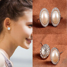 Fashion 1 Pair Women Elegant Silver Pearl Crystal Rhinestone Ear Stud Earrings
