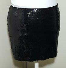 Torrid Black Sequin Mini Skirt Sz 20 2X Wiggle Fitted Lined