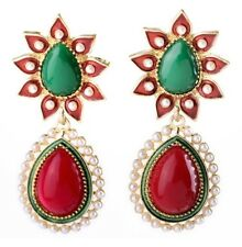 RED GREEN TEARDROP RHINESTONE ENAMEL & WHITE PEARL BEAD Chandelier Drop Earrings