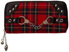 Banned Apparel Handcuffs Red Tartan Plaid Punk Goth Skull Zip Around Wallet