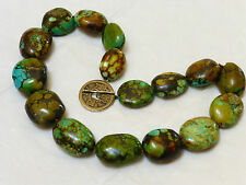 VINTAGE CHINESE TURQUOISE BEAD NECKLACE, STERLING CLASP, 197 GRAMS