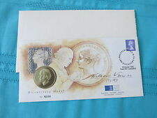 First Day Stamps Cover + Comm Medal William Wyon RA Bicentenary. Mint condition