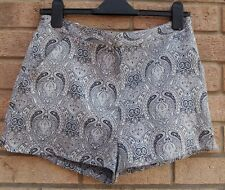 PRIMARK BLUE WHITE PAISLEY BAROQUE  SUMMER SHORTS HOT PANTS 10 S