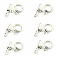 10 x Tibetan Silver Round Toggle Clasps