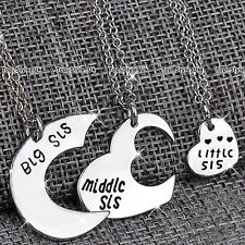 CHRISTMAS GIFTS FOR HER - Silver Hearts Sister Necklaces Daughter Girls Women K8