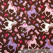 BonEful Fabric FQ Cotton Quilt White Purple Pink Horse Little Pony Girl Princess