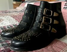 Size 5 Black Real Leather Asos Buckled Ankle Boots