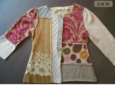 Anthropologie Sleeping on Snow cardigan sweater patchwork abstract buttons S