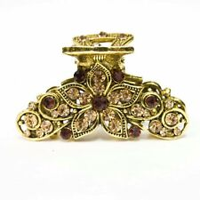 new and crystal hair clip Antique gold tone brown stone 7606 j