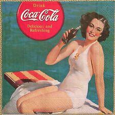 2 single paper napkins decoupage collection Servietten Girl Coke Retro Coca-Cola