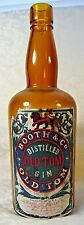"Antique Booth & Co ""Old Tom"" Distilled Gin Amber Bottle Orginal Label 2-Pc Mold"