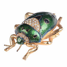 Green Bug Bejeweled Trinket Box Enamelled Pewter Jewelry Box Insect Collectible