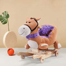 Baby Kids Toy Plush Rocking Horse Rider Toddler Seat wood Rocker w/ Sound  wheel
