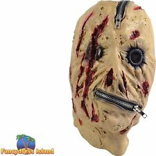 HALLOWEEN HORROR SCARY DEAD ZIPPER MASK - mens ladies fancy dress accessory