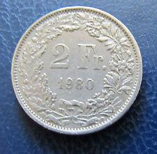 Münze 2 Schweizer Franken 1980 aus Umlauf gültiges Zahlungsmittel Sammler