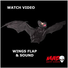 Giant Animated Vampire Bat -Halloween Hanging Decoration Prop MOVES+SOUND Scary!