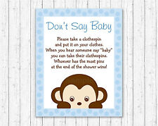 Mod Pop Monkey Blue Dont Say Baby Baby Shower Game Printable