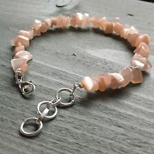 "Chip crystal Peach Moonstone Bracelet adjustable 7.5"" to 9"" Pagan Chakra Reiki"