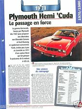 Plymouth Hemi 'cuda Coupe Barracuda V8 1971 USA Car Auto Retro FICHE FRANCE