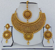 Indian Bridal Jewelry Ethnic Tikka Earrings Bollywood Necklace Royal Plain Set