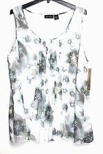 DKNY - 22W - NWT $79 - White & Multi Watercolor Floral Chiffon Tank Top Blouse