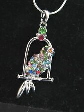 Parrot Necklace silver tone RAINBOW Rhinestones Lobster clasp 16 inch SPARKLE