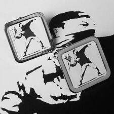 Unique! BANKSY CUFFLINKS chrome FLOWER THROWER urban STENCIL ART street GRAFFITI