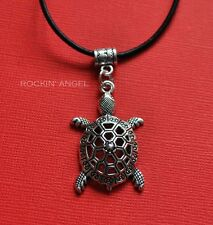 Antique Silver Plt Turtle Pendant Necklace Ladies Girls Mens Gift Marine Biology