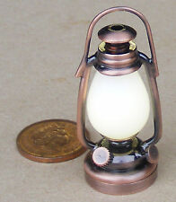 1:12 Working LED Copper Victorian Battery Oil Lamp Dolls House Miniature Light