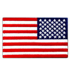 "USA FLAG US REVERSED EMBROIDERED PATCH RIGHT ARM IRON-ON EMBLEM SIZE 4""x2.5"""