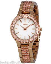 DKNY ROSE GOLD TONE+CRYSTAL,GEMSTONE WHITE CHRONOGRAPH DIAL SMALL WATCH NY8441