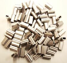 """100 PACK 3/64"""" ALUMINUM DOUBLE FERRULE CABLE STOPS SNARE WIRE SWAGE TRAP BARREL"""