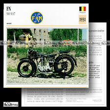 #030.17 FN FABRIQUE NATIONALE 500 M 67 1931 Fiche Moto Classic Motorcycle Card
