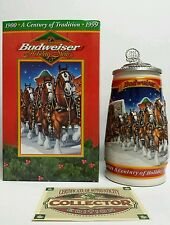 """1999 Budweiser """"A Century of Tradition"""" Holiday Stein Lidded CS389SE Signature"""