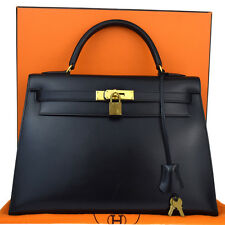 AUTHENTIC HERMES KELLY 32 CADENA HAND BAG BOX CALF BLACK FRANCE VINTAGE 374I043