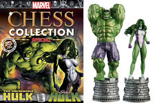 FIGURA MARVEL CHESS AJEDREZ COLLECTION ESPECIAL HULK & SHE HULK + REVISTA