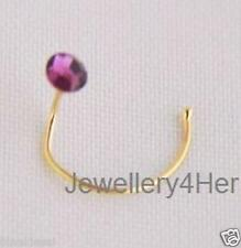 9ct GOLD 3mm Round Flat Purple Amethyst Crystal Bend Wire Nose Stud Summer Gift