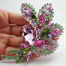 "HUGE 4.21"" RUNWAY PINK BOUQUET FLOWER BROOCH SWAROVSKI CRYSTALS - NEW"