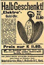 Heinrich Kertész Wien Elektro- Golduhr Historische Annonce von 1910