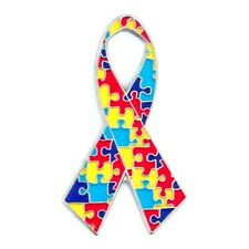 Autism Puzzle Ribbon Pin Asperger Syndrome Awareness Silver Plated New