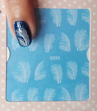 White Grasses Leaves Tree Water Transfer Nail Art Stickers Decals UV Gel Polish