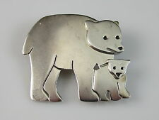 Sterling Silver A & J Harvey Bear Pin Brooch Polar Grizzly