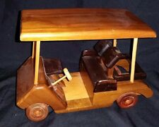 "VINTAGE HAND CARVED MINIATURE WOOD GOLF CART -8.5"" X 5.5"""