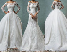 Full Lace Mermaid Wedding Dresses With Detachable Train Off Shoulder 2017