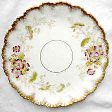 Staffordshire England Victorian 1885 porcelain china cake plate gilt moulded vgc