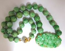 200ct natural jade bead carved floral necklace 14kt 15 inch