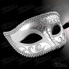 Mens Mysterious Charming Prince Venetian Masquerade Ball Mask [Silver]