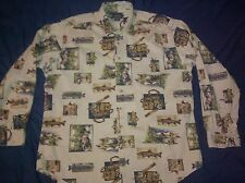 WOOLRICH FLY FISHING outdoors fish print Long Sleeve shirt - size Large Beige